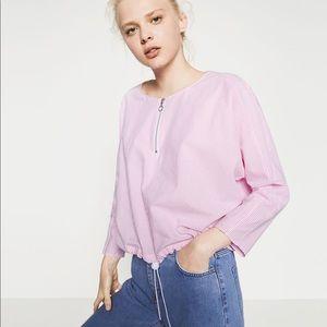 Zara Striped Zip Top